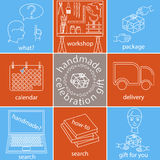 Handmade celebration gift icons set, different color version Stock Images