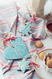Handmade ceramic Christmas decorations with amarettini and coffe Royalty Free Stock Images