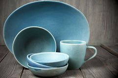 Handmade ceramic dishware Stock Photography