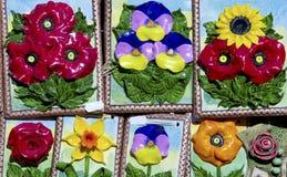 Handmade ceramic flowers Stock Photo
