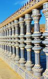 Handmade ceramic handrail and balusters with traditional pattern. In moresque style in Seville, Spain stock photo