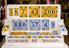 Handmade ceramic house numbers Royalty Free Stock Images