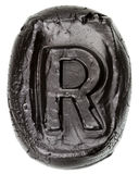 Handmade ceramic letter R Stock Image