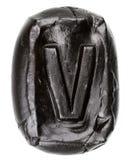 Handmade ceramic letter V Stock Photo