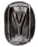 Handmade ceramic letter Y Stock Photos