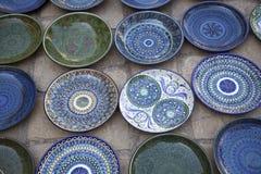 Handmade ceramic plates royalty free stock images