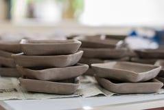 Handmade ceramic plates Stock Photos