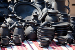 Handmade ceramic pottery street handicraft market Stock Photo