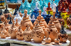 Handmade ceramic souvenirs for sale on Crete island Stock Image
