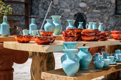 Handmade ceramic souvenirs for sale on Crete island Royalty Free Stock Photography