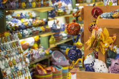 Handmade ceramic souvenirs for sale on Crete island, Greece Royalty Free Stock Photo