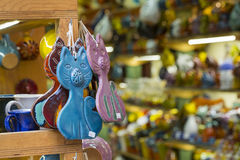 Handmade ceramic souvenirs for sale on Crete island, Greece Stock Photos