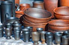 Handmade ceramic ware. Black smoke ceramics. Royalty Free Stock Photography