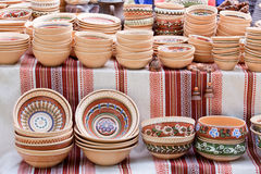 Handmade ceramics souvenirs at handicraft market stock photos