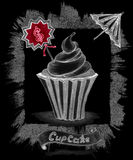 Handmade chalk sketch cupcake with price umbrella ribbon on black Stock Image
