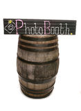 Handmade chalkboard photobooth sign and barrel Stock Photography