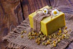 Handmade chamomile soap Stock Image