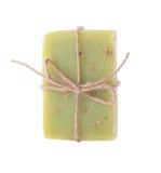 Handmade chamomile soap on white background Stock Photo