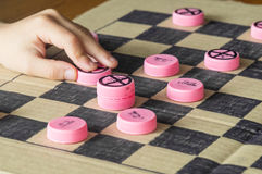 Handmade checkers Stock Photos