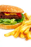 Handmade Cheeseburger with fries. Gourmet cheeseburger with a homemade beef patty on a bed of lettuce with a side of fries Stock Image