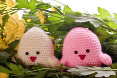 Handmade chick with spring flowers Stock Photo