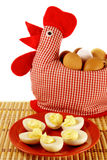 Handmade chicken and plate with boiled eggs Stock Images