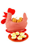 Handmade chicken and plate with boiled eggs Royalty Free Stock Photos