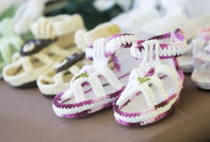Handmade children's slippers Royalty Free Stock Photos