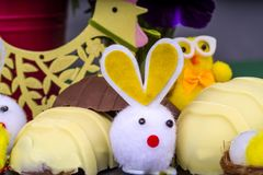 Handmade Chocolate Easter Eggs. Hand crafted chocolate Easter Eggs with novelty Easter Bunnies and Easter Chicks Royalty Free Stock Photos