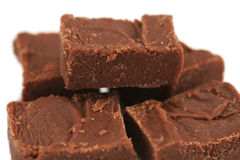 Handmade Chocolate Fudge closeup. Small pile of handmade, homemade, chocolate fudge - shallow depth of field royalty free stock photos