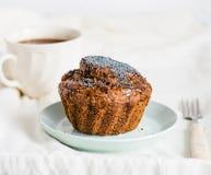 Handmade chocolate muffins with carob, honey, raisins and poppy Royalty Free Stock Images