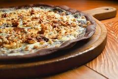 Handmade chocolate pizza Stock Photo