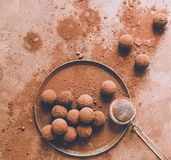 Handmade chocolate truffle on a plate. Dark chocolate candies in cocoa powder on a dark brown background. Flat layout. stock images