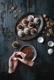Handmade chocolate truffles stock photos
