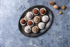 Handmade chocolate truffles stock photo