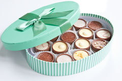 Handmade Chocolates. A pastel green box of handmade chocolates Stock Photo