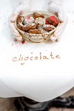 Handmade chocolates in the basket Royalty Free Stock Photo