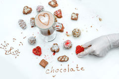 Handmade chocolates with coffee Stock Photography