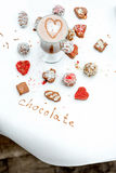 Handmade chocolates with coffee Stock Images