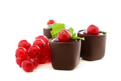 Handmade chocolates stuffed with jam and chocolate Royalty Free Stock Photo
