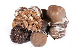 Handmade chocolates on white Royalty Free Stock Photo