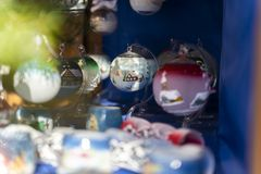 Handmade christmas balls made out of glass on the christmas market of merano in south tyrol during daylight royalty free stock images