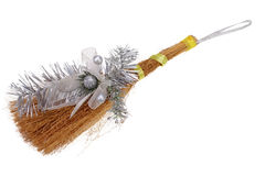 Handmade Christmas broom,  isolated on white with Clipping Path Stock Photo