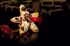 Handmade Christmas cookie star, pine cones and spices on dark ba Royalty Free Stock Images
