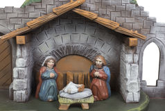 Handmade Christmas crib. Handmade colorful wooden Christmas crib Royalty Free Stock Images