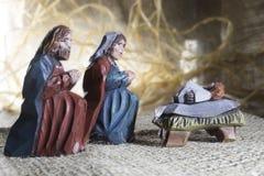 Handmade Christmas crib. Handmade colorful wooden Christmas crib Stock Photography