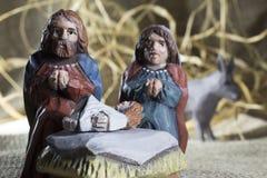 Handmade Christmas crib Stock Photos