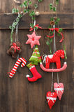 Handmade christmas decoration over rustic wooden background Stock Photography