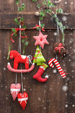 Handmade christmas decoration with snow effect Stock Image
