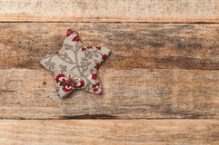 Handmade christmas decoration, Star and heart made of fabric Royalty Free Stock Photos